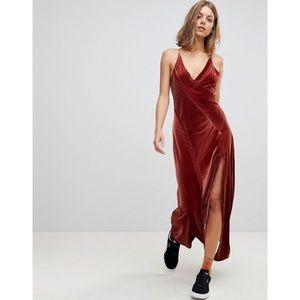 NWT Free People Spliced Velvet Maxi Dress in Rust